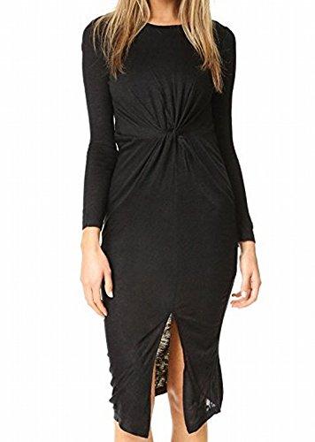 KENDALL + KYLIE Women's Knotted A-Line Dress, Black, Medium (Knotted Jersey Dress Black)