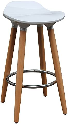 MyChicHome Zac Set of 2 Mid Century ABS Plastic and Wood Backless 26 Counter Stool in White