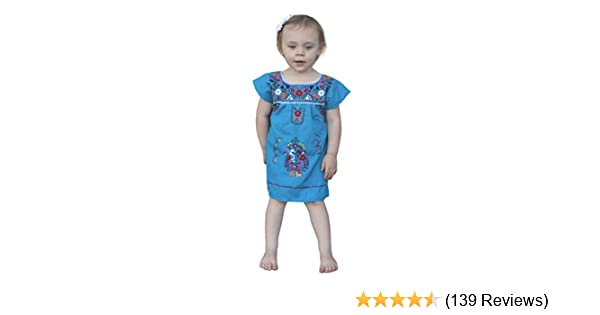 30e7bf690 Amazon.com: Liliana Cruz Embroidered Mexican Youth Girls Dress (0,  turquoise): Clothing