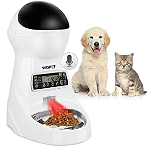 WOPET Pet Feeder Stainless Steel Bowl,Automatic Dog and Cat Feeder Food Dispenser with Timer Programmable, Distribution Alarms,Portion Control,Voice Recording Up to 4 Meals a Day