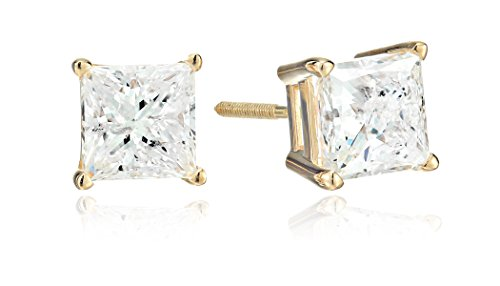 14k-Yellow-Gold-Princess-Cut-Diamond-Screw-Back-and-Post-Stud-Earrings-2cttw-H-I-Color-I2-Clarity