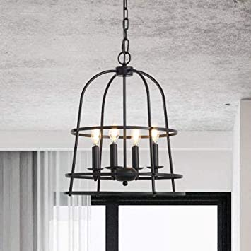 Candle Chandelier Pendant Lights Pendant Lamp Lighting Fixture Cage Hanging Kitchen Island Light 16.9Inch Painting Balck Iron 4 Lights Vintage Dining Room Lighting Fixture Table Hanging Lighting