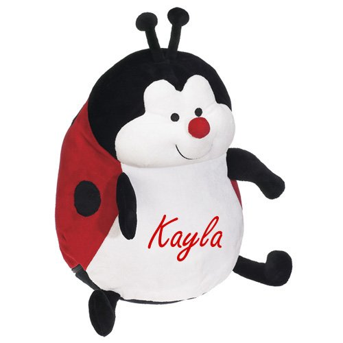 Little Lady Embroidered Pillow - Childrens Pillows Name Embroidered Personalzied Gifts Lady Bug Childrens Baby Gifts