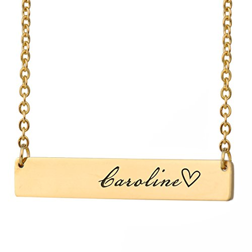 HUAN XUN Carolina Name Greek Name Necklace Bar Initial Necklace Personal Jewelry Birthday Valentine - Necklace Greek Name