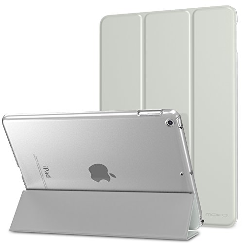 MoKo-Case-for-iPad-2017-97-Inch---Slim-Lightweight-Smart-Shell-Stand-Cover-with-Translucent-Frosted-Back-Protector-for-Apple-New-iPad-97-Inch-2017-Release-5th-Gen-SILVER-Auto-WakeSleep