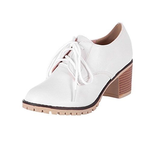 Charm Foot Womens Mid Chunky Heel Lace Up Casual Oxfords Shoes White 8iYX2lpiqV