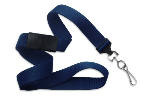 Navy Blue Flat Wide Breakaway Lanyard with Swivel Hook by Specialist ID, Sold Individually ()