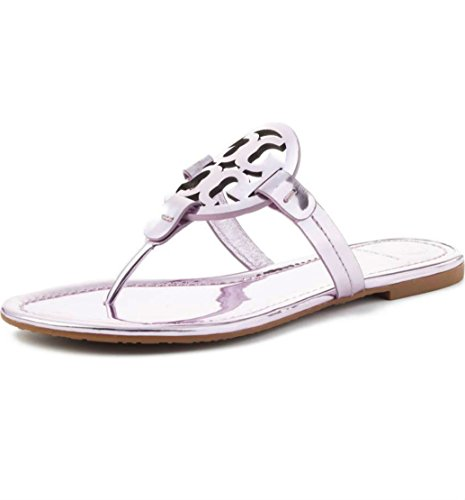 Tory Burch Miller Patent Leather Mirrored Metallic Flip Flop Sandals in Rosa 666 Size - Store Tory