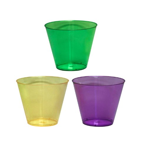 Party Essentials Hard Plastic 50 Count Party Cups/Tumblers, 9-Ounce, Mardi Gras Mix ()