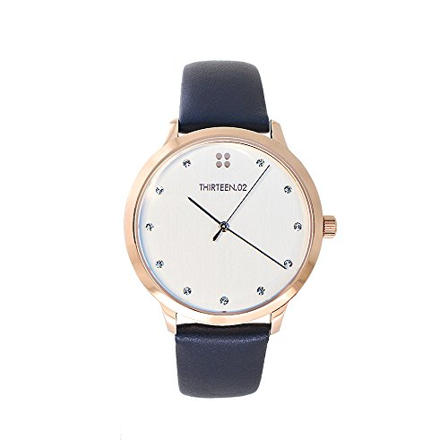 THIRTEEN02-Rose-Gold-Womens-Watch-with-Crystal-Embellishments-Leather-Watch-Band-Champagne-Dial--Oak-Lawn