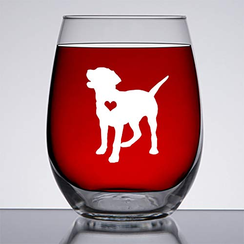 Labrador Retriever Gifts- Large 15 oz Stemless Wine Glass - Unique Dog Gift Idea for Lab Lover, Black, Golden, Yellow