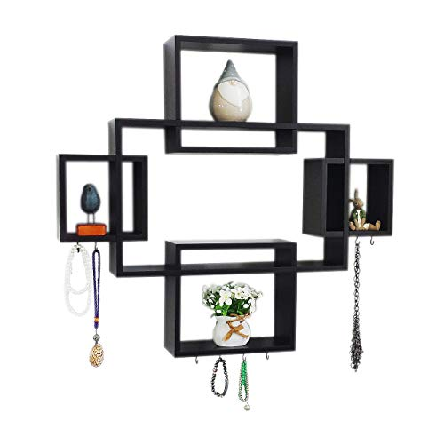 Set of 5 Cubes with Free Extra Jewellery Hooks Interlocking Wall Shelf, Intersecting Squares Wooden Floating Shelf, Wall Mounted Horizontally or Vertically Display Shelves,Espresso