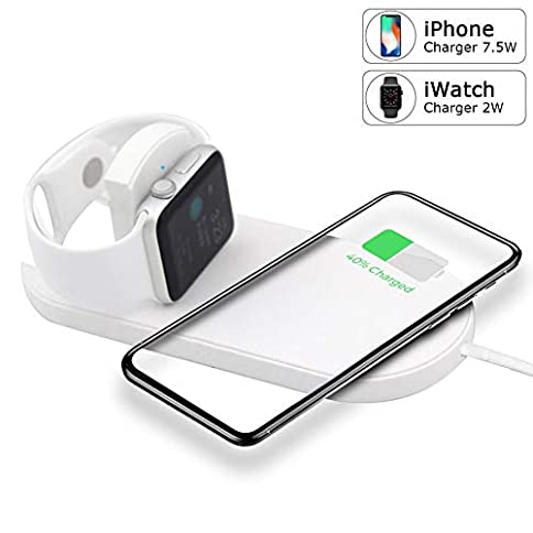 - 41S 2BkLfHonL - Evanee Wireless Charger for Apple Watch Magnetic Wireless Charger 2 in 1 Pad Stand Cable Compatible with Apple Watch Series 1/2/3/4 iPhone X iPhone 8/8Plus for Samsung Galaxy S9 S8 Note 8
