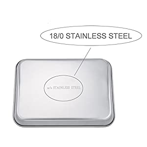 "TeamFar Stainless Steel Compact Toaster Oven Pan Tray Ovenware Professional, 8""x10""x1"", Heavy Duty & Healthy, Deep Edge, Superior Mirror Finish, Dishwasher Safe"