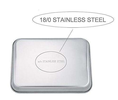 TeamFar Stainless Steel Toaster Oven Tray Pan Ovenware, 12.5''x10''x1'', Non Toxic & Healthy, Rust Free & Mirror Finish, Easy Clean & Dishwasher Safe by TeamFar (Image #5)