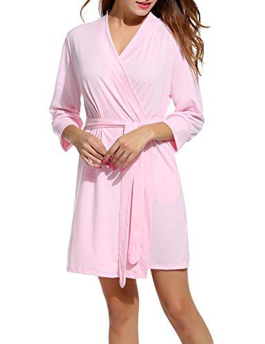 Scollo Cotone A E S Da Notte Rosa Kimono Unibelle Vestaglie Pigiama Camice xxl Pastello V Nightdress Corto Donna FqwxnXRCnY