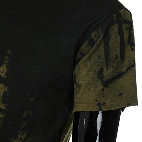 Vêtements Hommes Casual Gilet Rond T shirt Verte Chemise Slim Col Muscle Armée New Élasticité Sports Mode Blouse À Adeshop Confortable Été Courtes Manches Tops qxP5wn1WWY