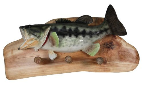 Large Mouth Bass Natural Firwood Wall Mounted Rack-3 Pegs
