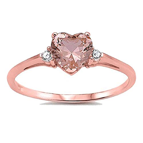 Wedding Engagement Heart Promise Ring Simulated Pink Morganite CZ Rose Tone 925 Sterling Silver, Size-6