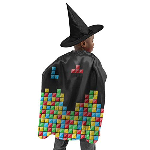 Color Game Three-Dimensional Block Russian Tetris Cloak Hooded Lightweight Hooded Cloak Women Witch Cloak and Hat Dress Up for Halloween Birthday Party