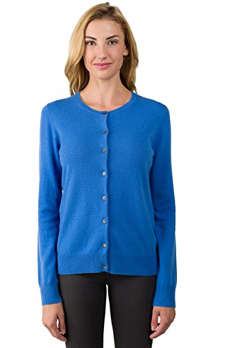 JENNIE LIU Women's 100% Cashmere Button Front Long Sleeve Crewneck Cardigan Sweater (M, - Sweater Blue 2 Cashmere