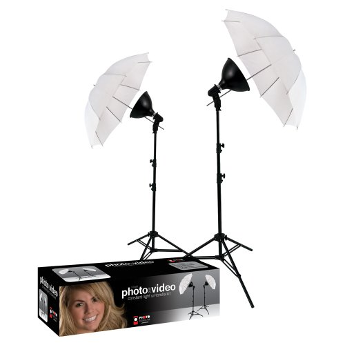 Photo Basics 406 uLite 2 Light Umbrella Kit (Lighting Kit Photoflood Studio)