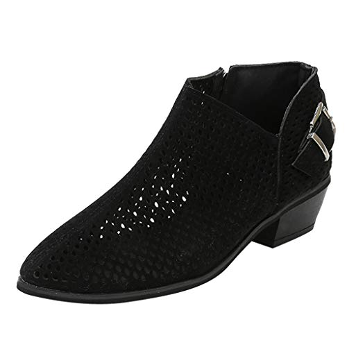 SSYUNO Big Sale Women Ponited Toe Shoes Pure Color Booties Buckle Strap Square Heel Single Shoes ()