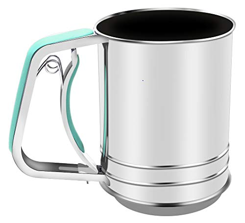 Stainless Steel Almond Flour Sifter One Hand for Baking with 3 Meshes Squeeze Style … by YongLy