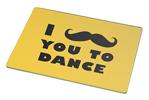 Rikki Knight I Mustache You To Dance Yellow Color Large Glass Cutting Board by Rikki Knight