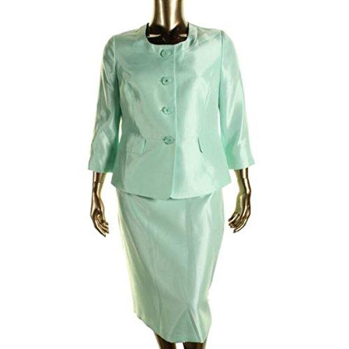Le Suit Womens Plus The Hamptons Shantung 2PC Skirt Suit Green 18