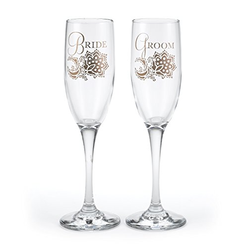 Hortense B. Hewitt 40030 Lace Shimmers Bride & Groom Champagne Toasting Flutes, Set of 2 (Reception Flutes Toasting)