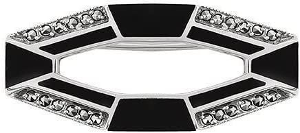 3.60ct Black Onyx /& 0.36ct Marcasite 925 Sterling Silver Art Deco Brooch