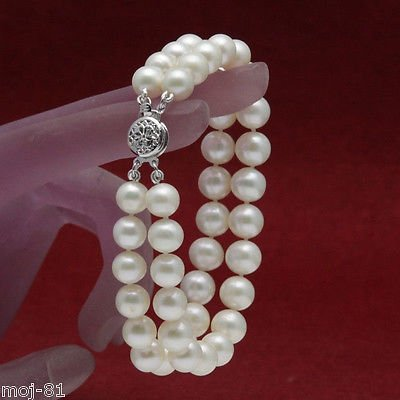 AAA+ 2 Rows 7-8mm White Natural Freshwater Akoya Pearl Bracelet ()