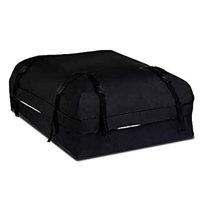 Rooftop Cargo Carrier Bag by Boltlink -100% waterproof 500 Denier Polyester Material -with Heavy-Duty Wide Straps & Buckles- Great Velcro Flap and Storage Bag -Easy to Install for Most Car,SUV