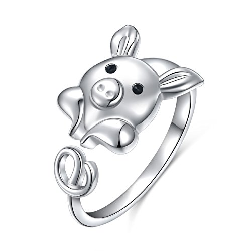 925 Sterling Silver Cute Pig Wrap Ring for Women, Open Animal Ring Adjustable