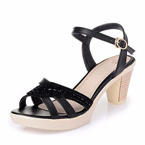 No. 55 Shoes Lady con Impermeabile Sandali in Estate con Una Parola Fibbia Tacco Alto Scarpe,US5.5/EU/36/UK3.5/CN35,Nero