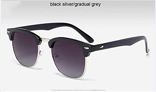 calidad Remache Silvergray3016 sol hombre Gafas de metal clásico Moda de de sol de medio ZHANGYUSEN gafas espejo de Black de alta U4qpBwqf