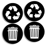 Recycle and Trash Logo Stickers (4 Pack) 4in x 4in - Organize Trash - for Metal or Plastic Garbage cans, containers and Bins - Indoor & Outdoor - Home, Kitchen, Office - Premium Decal (Small, Black)