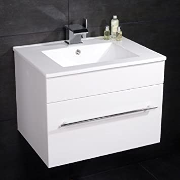 600 Vanity Unit with Basin for Bathroom Ensuite Cloakroom   Wall Mounted  Soft Closing Modern White. 600 Vanity Unit with Basin for Bathroom Ensuite Cloakroom   Wall