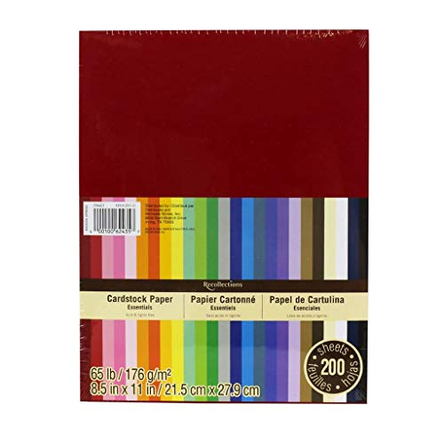 Recollections Cardstock Paper, Essentials 20 Colors - 200 Sheets 8-1/2 X 11 (Primary Color Scrapbook Paper)