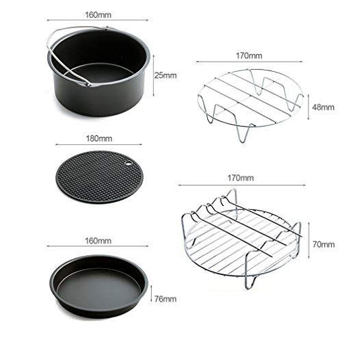 Home Air Fryer Accessories with Fryer, Baking Basket, Pizza Pan, Grill Pot Mat,Metal Holder Multi-functional Kitchen Accessory by Kath (Image #2)
