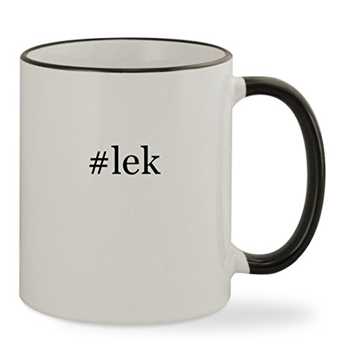 #lek - 11oz Hashtag Colored Rim & Handle Sturdy Ceramic Coffee Cup Mug, Black