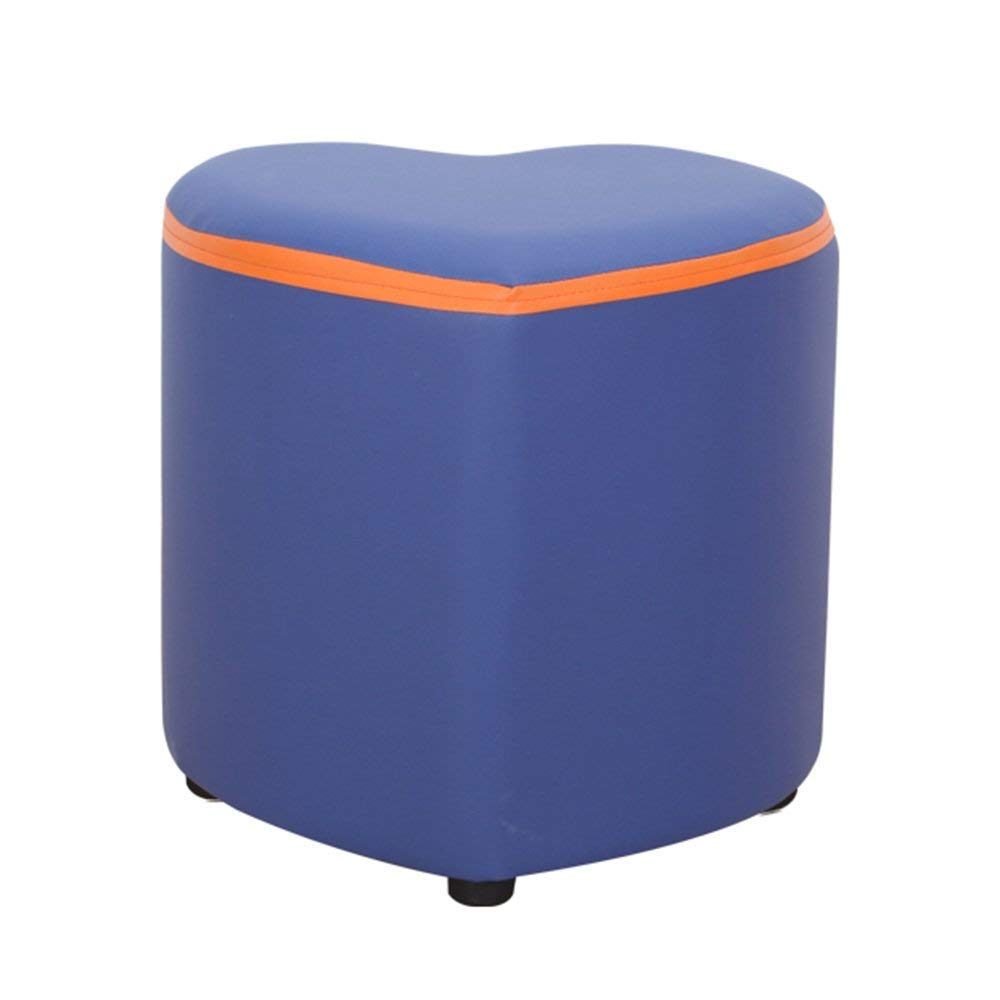 YQY Chair-Bar Stool Retro Fashion Footstool Pu+ Solid Wood Home Stool Sofa Stool Product Size 343634Cm (Length, Width, Height),Blue