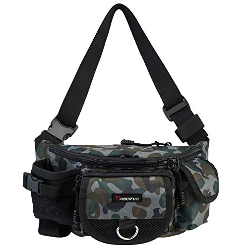 Piscifun Fishing Bag Portable Outdoor Fishing Tackle Bags Multiple Waist Bag Multi Functional Fanny Pack (Color Camouflage)
