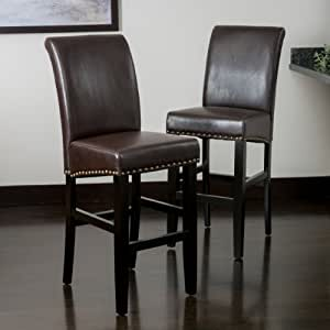 Amazon Com Clifton Brown Leather Bar Stool W Brass