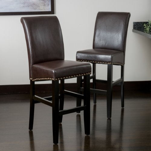 Great Deal Furniture Clifton Brown Leather Bar Stool w/Brass Nailheads (Set of 2)
