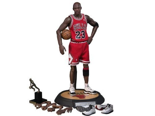 Enterbay Masterpiece x NBA Michael Jordan #23 Away Red Jersey 1:6 Figure with Air Jordan II, X, XI shoes [Series 1 Road -