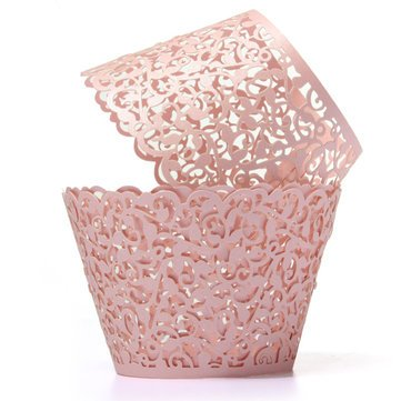 12Pcs Baking Arts Hollow Cup Cake Wrapper Cups Muffin Paper Cup Cake Cups - Bakeware & Accessories Baking Cups & Liners - (Pink) ()
