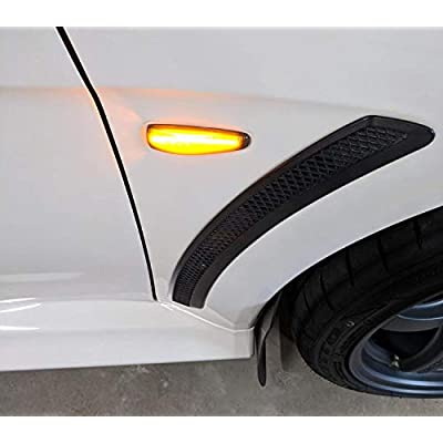 iJDMTOY Smoked Lens Amber Full LED Front Side Marker Lights Compatible With Mitsubishi Lancer Evo X Mirage Outlander Sport, Powered by 36-SMD LED, Replace OEM Sidemarker Lamps: Automotive