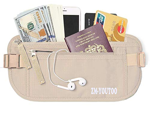 ZM-YOUTOO Travel Money Belt RFID Blocking Hidden Waist Wallet Money Pouch Waterproof Security Pouch for Passport, Mobile Phone, Cards for Man Women (Khaki)